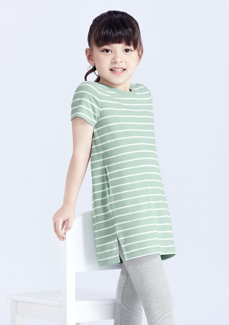 特級四面彈性條紋長版上衣-童裝