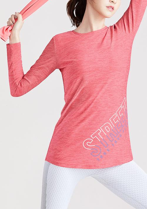 抗UV吸排運動文字印花長袖長版上衣