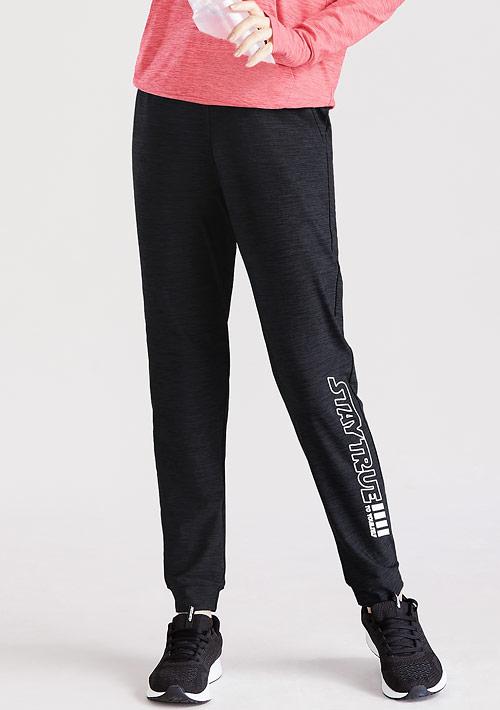 文字印花抗UV吸排運動束口長褲