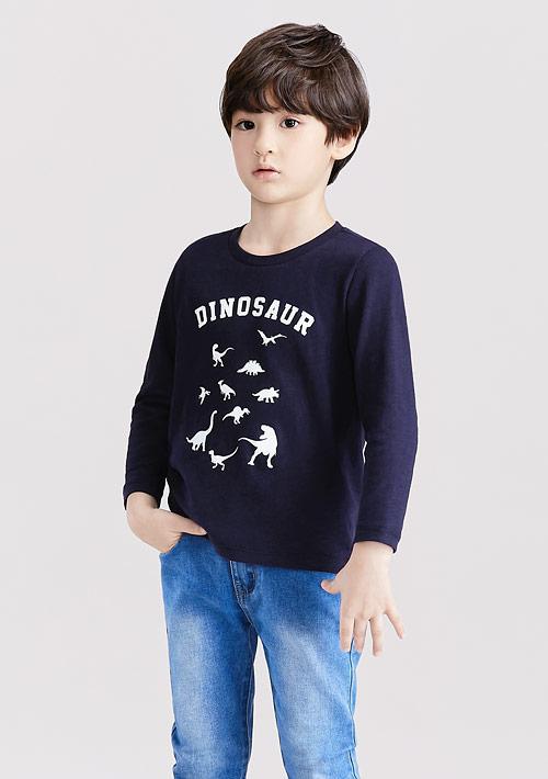 恐龍竹節棉長袖印花T恤-童裝