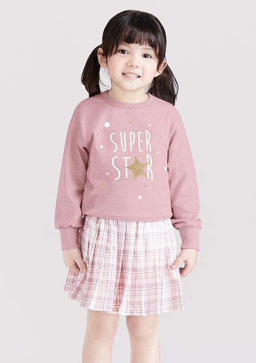 星星毛圈印花T恤-童裝