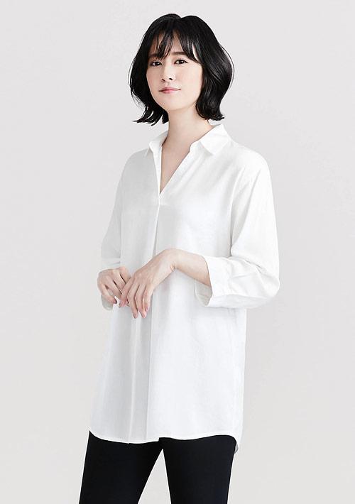 開襟領長版襯衫