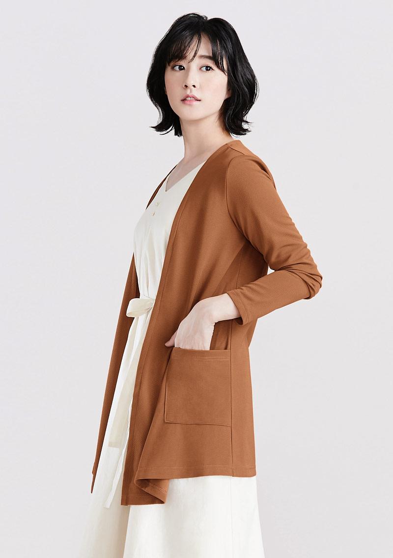坑條織紋開襟外套