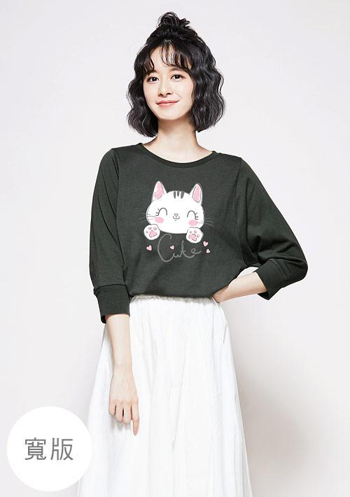 貓咪純棉七分袖寬版印花上衣