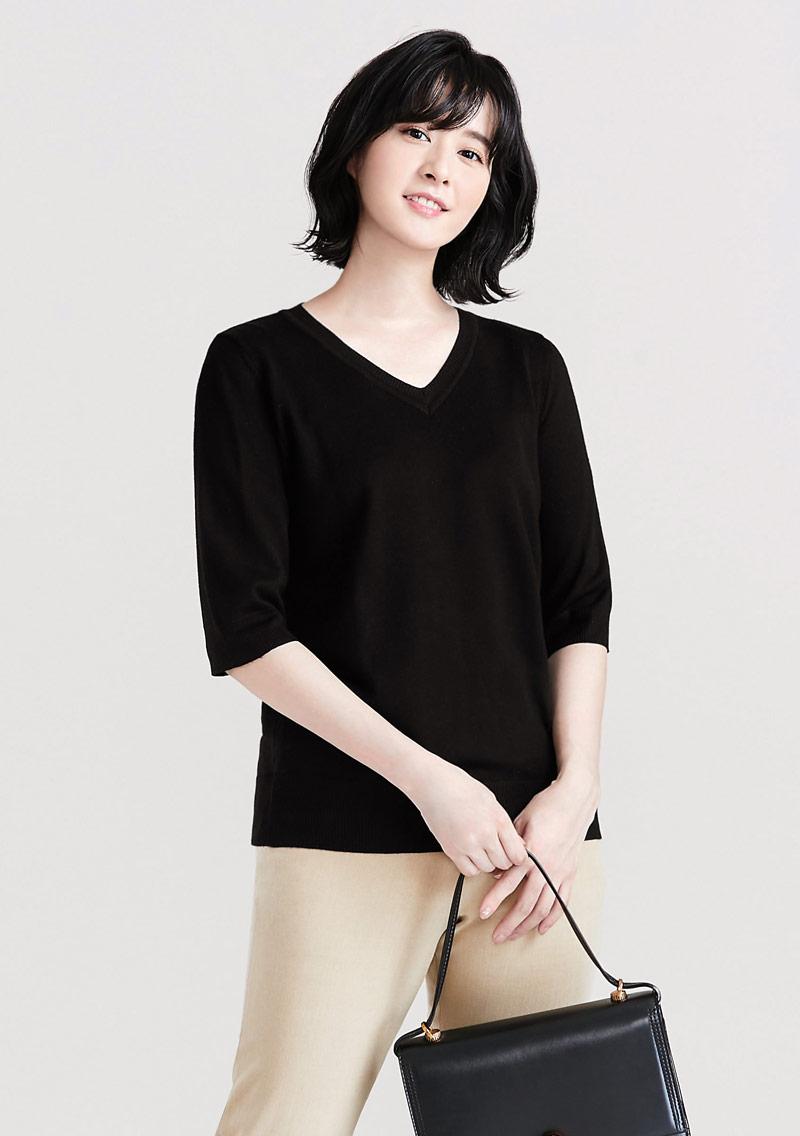 V領五分袖針織衫