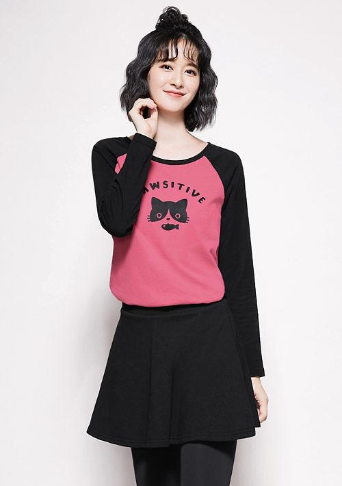 貓咪印花純棉配色長袖T恤