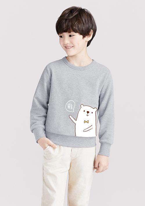 熊熊毛圈印花T恤-童裝