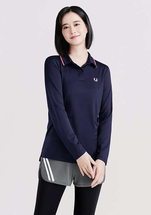抗UV吸排印花拼色長袖polo衫