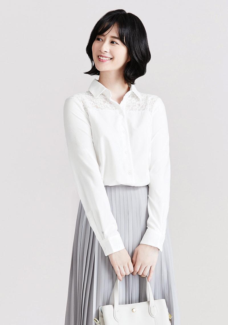 輕柔吸排拼接蕾絲長袖襯衫