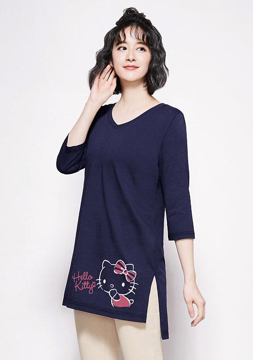 Hello Kitty V領純棉七分袖長版印花T恤-01
