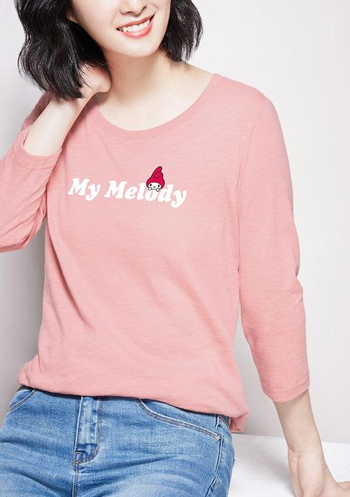 My Melody竹節棉七分袖印花T恤-01