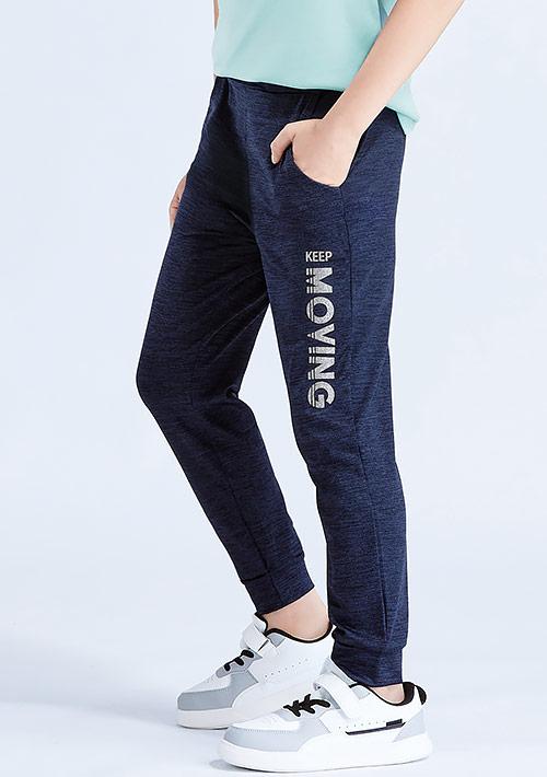反光文字印花抗UV吸排運動束口褲-童裝