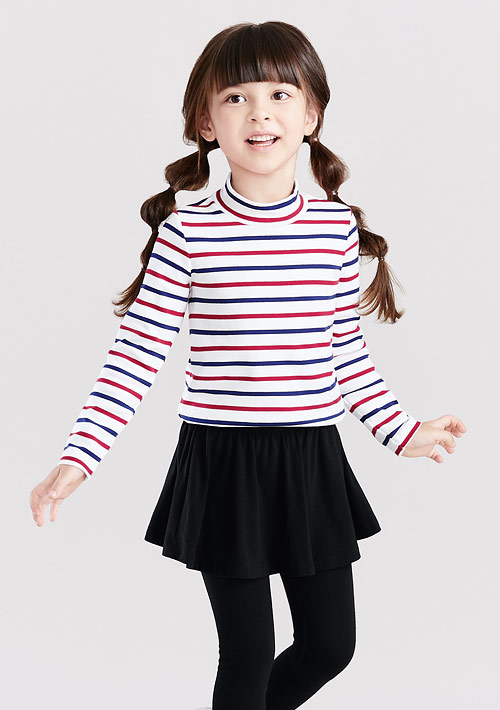 立領條紋長袖上衣-童裝
