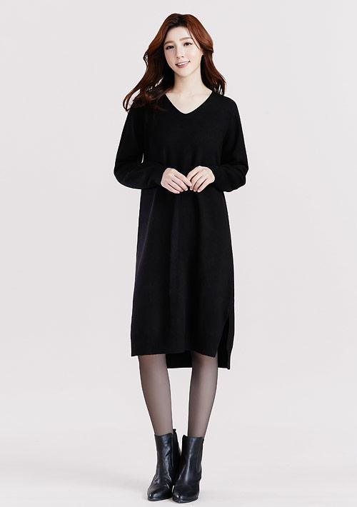 V領針織長版洋裝